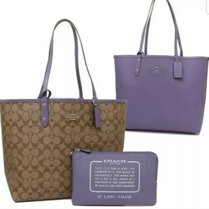 Coach Reversible City Signature Tote Lavendar